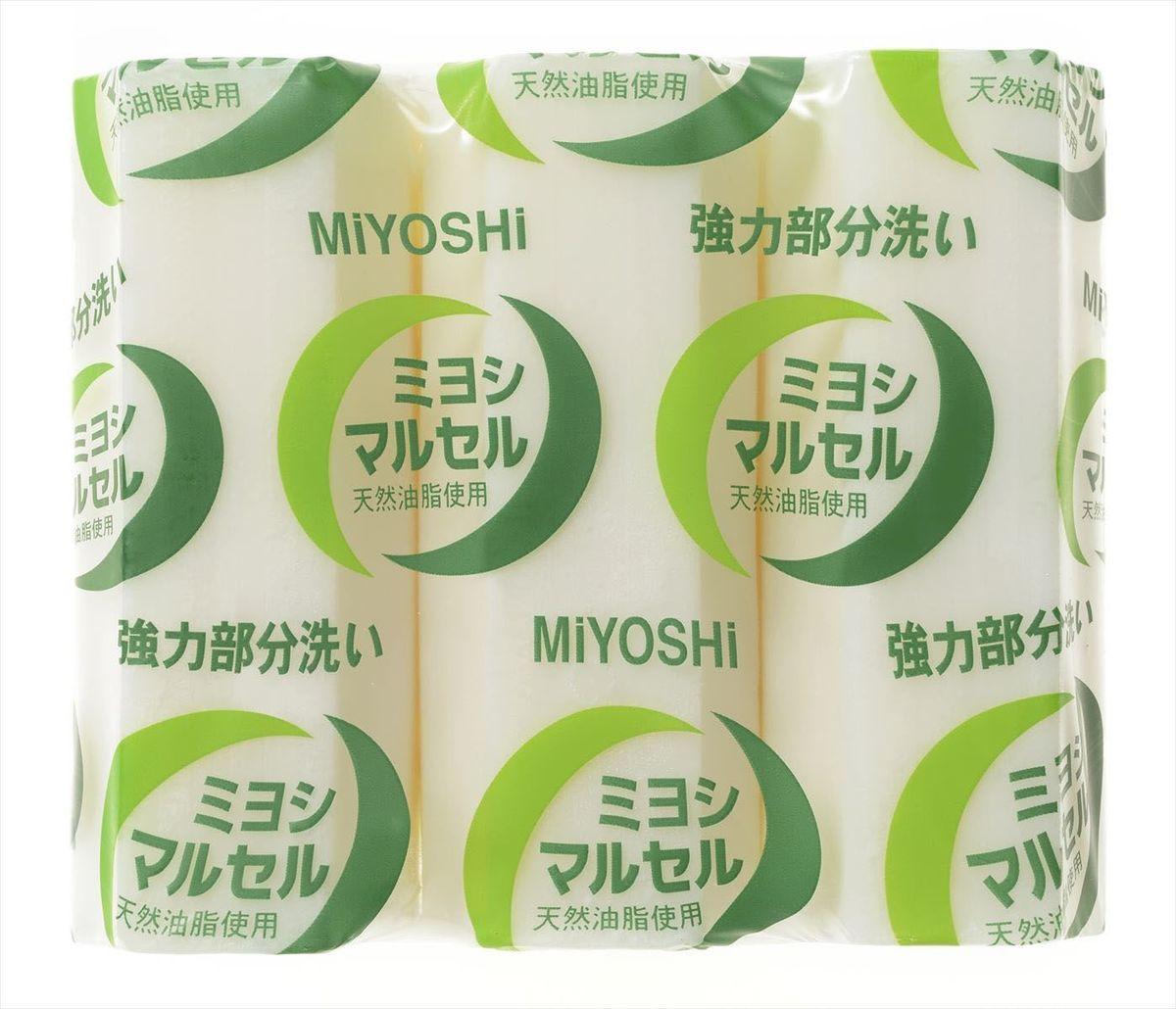 Мыло для стирки Miyoshi Miyosh, для точечного застирывания стойких загрязнений. 100660S03301004Мыло предназначено специально для точечного застирывания стойких загрязнений. Отличается высокими отстирывающими свойствами, удаляет стойкие запахи, следы желтизны за счет наличия в составе щелочных компонентов (солей кремниевой кислоты), легко справляется с такими загрязнениями, как грязь, жир, машинное масло. Твердое, без красителей, со слабо выраженным ароматом. Меры предосторожности: Используйте строго по назначению. Не для стирки шелка и шерсти. Людям с повышенной чувствительностью кожи, а также при длительном контакте кожи рук с водой рекомендуется использовать резиновые перчатки. Избегайте попадания в глаза мыльного раствора, при попадании немедленно промойте глаза водой. После использования храните мыло в сухом месте.Состав: чистая (без примесей) мыльная основа (натриевая соль с содержанием жирных кислот 78%), щелочные компоненты (силикаты).