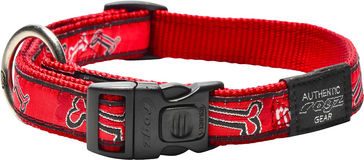 Ошейник для собак Rogz Fancy Dress, цвет: красный, ширина 2 смHB03CCОшейник для собак Rogz Fancy Dress имеет необычный дизайн. Широкая гамма потрясающе красивых орнаментов на прочной тесьме поверх нейлоновой ленты украсит вашего питомца. Специальная конструкция пряжки Rog Loc - очень крепкая (система Fort Knox). Замок может быть расстегнут только рукой человека. Технология распределения нагрузки позволяет снизить нагрузку на пряжки, изготовленные из титанового пластика, с помощью правильного и разумного расположения грузовых колец.Особые контурные пластиковые компоненты. Специальная округлая форма конструкции позволяет ошейнику комфортно облегать шею собаки. Выполненные по заказу литые кольца имеют хромирование, нанесенное гальваническим способом, что позволяет избежать коррозии и потускнения изделия.