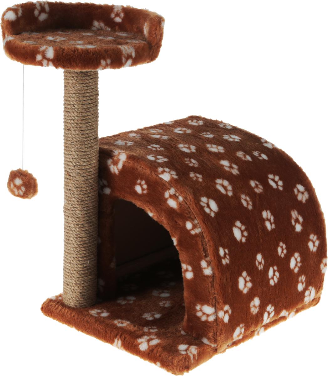 Домик-когтеточка Меридиан, полукруглый, цвет: коричневйы, белый, бежевый, 54 х 40 х 59 см домик perseiline кошка для кошек 38 40 40 см 00025 дмс 4