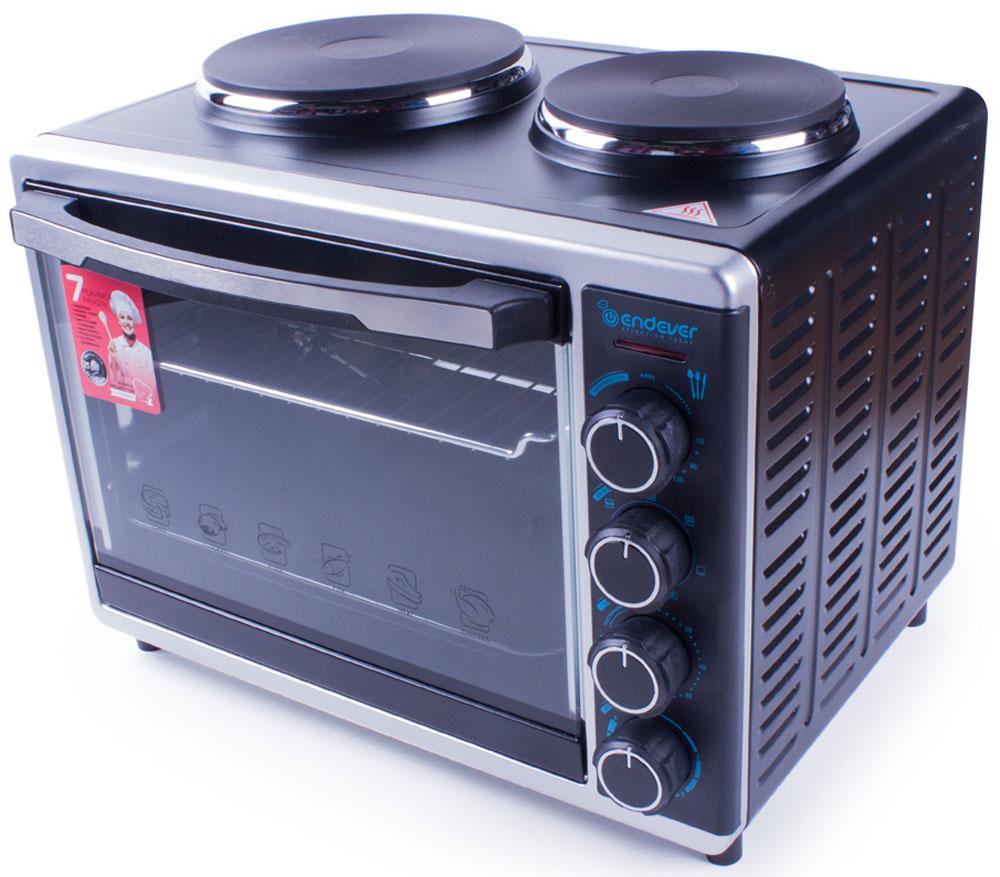 Endever Danko 4015, Black мини-печьDanko 4015Мини-кухня Endever Danko 4015 – это очень удобный и незаменимый кухонный прибор. Небольшая компактнаямини-печь занимает мало места на кухне и является прекрасной альтернативой большому громоздкому духовомушкафу, она великолепно справляется с задачами духовки, гриля, ростера, тостера и других приборов.Запечь мясо, рыбу, овощи, приготовить пиццу, сэндвичи, тосты и многое другое – все под силу этой компактной,но, одновременно с этим, вместительной мини-кухне.Нагревательные элементы из нержавеющей сталиБольшая дверца и удобная ручка с декоративной вставкойРегулировка температуры в диапазоне от 60°С до 230°ССветовой индикатор на передней панелиТаймер на 2 часа с функцией автоотключения и звуковым сигналомВнутренняя подсветкаСемь режимов нагрева: разморозка, верхний с грилем, нижний, двухсторонний с конвекцией, левая конфорка,правая конфорка, 2 конфорки одновременно