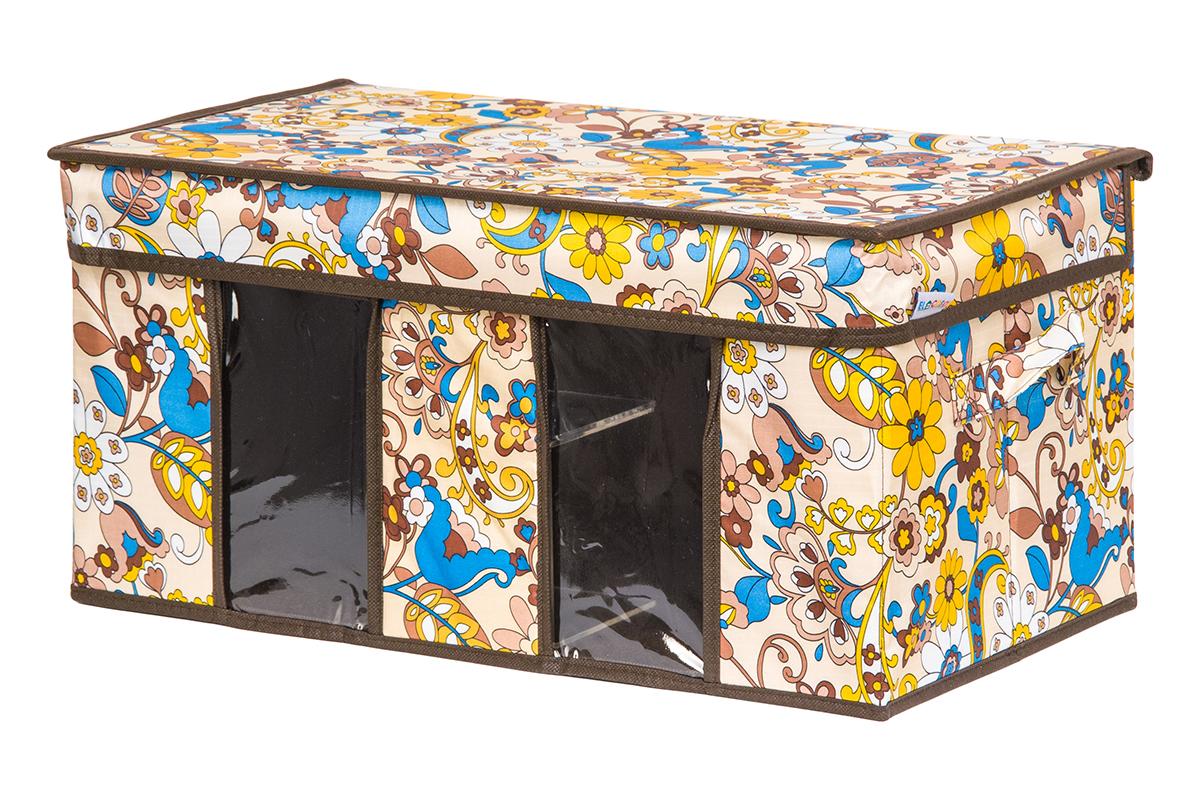 Кофр для хранения вещей EL Casa Сияние лета, складной, 50 х 29 х 24 см840204Вместительный кофр для хранения одежды и домашнего текстиля с 2 ручками. Прозрачные вставки позволяют видеть содержимое кофра. Благодаря эстетичному дизайну кофр гармонично смотрится в любом интерьере.