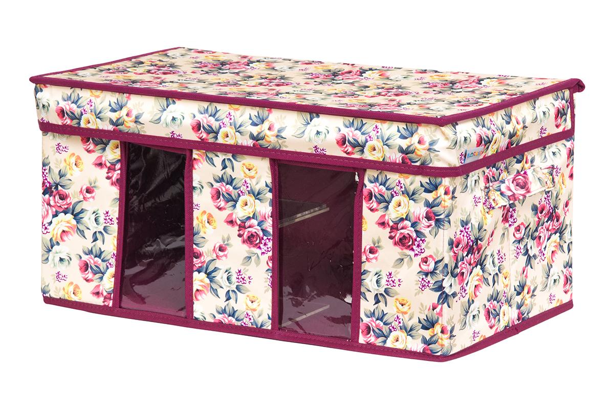 Кофр для хранения вещей EL Casa Розовый букет, складной, 50 х 29 х 24 см840207Вместительный кофр для хранения одежды и домашнего текстиля с 2 ручками. Прозрачные вставки позволяют видеть содержимое кофра. Благодаря эстетичному дизайну кофр гармонично смотрится в любом интерьере.