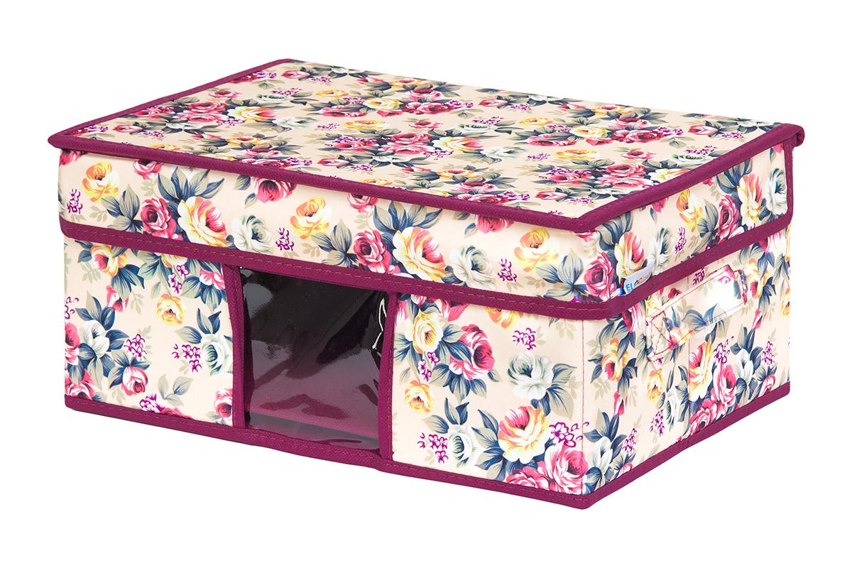 Кофр для хранения вещей EL Casa Розовый букет, складной, 35 х 20 х 16 см пуф el casa забавная сова складной с ящиком для хранения 35 х 35 х 35 см