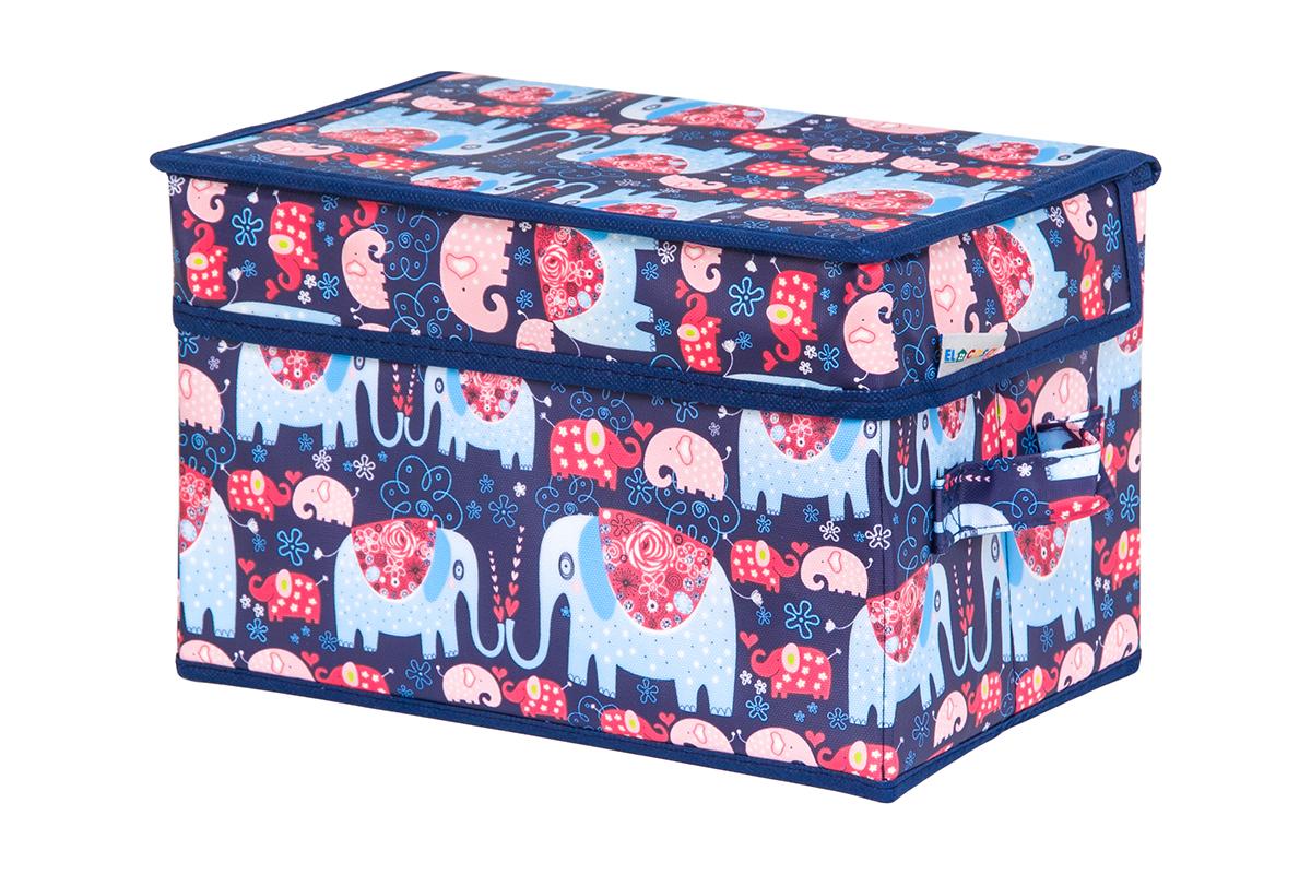 Кофр для хранения вещей EL Casa Слоники, складной, 28 х 18 х 18 см840254Кофр для хранения представляет собой закрывающуюся крышкой коробку жесткой конструкции, благодаря наличию внутри плотных листов картона. Специально предназначен для защиты Вашей одежды от воздействия негативных внешних факторов: влаги и сырости, моли, выгорания, грязи. Благодаря оригинальному дизайну кофр будет гармонично смотреться в любом интерьере.
