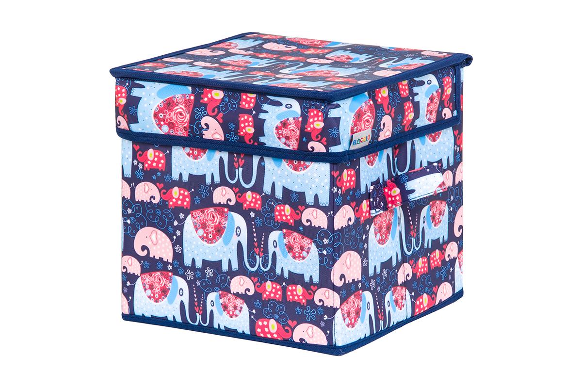 Кофр для хранения вещей EL Casa Слоники, складной, 22 х 22 х 22 см кофр складной для хранения 22 22 22 см мексика квадрат 1252409