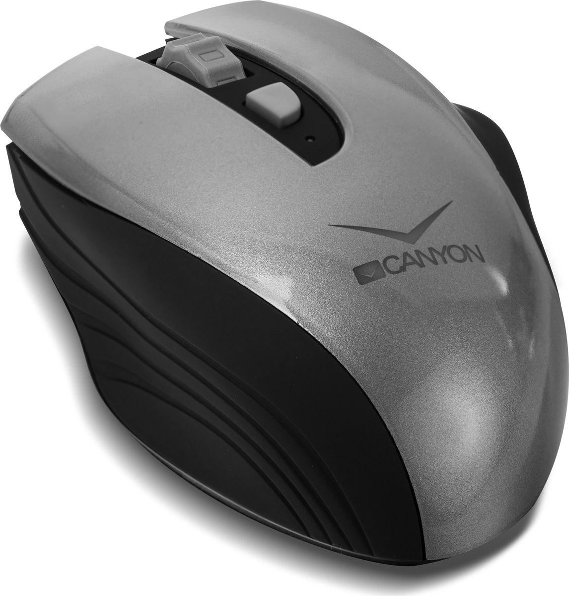 Canyon CNS-CMSW7G, Graphite мышь беспроводнаяCNS-CMSW7GЗабудьте о смене батареек – мышка Canyon CNS-CMSW7 в них не нуждается! Теперь работать с беспроводной мышью намного комфортнее и экономнее, ведь в любое время ее можно зарядить через USB-порт, либо от розетки. При этом заряда хватает на 2 недели работы. Мышь CNS-CMSW7 оснащена переключателем чувствительности датчика между 800, 1200 и 1600 DPI, что весьма облегчает работу на большом экране, либо на двух мониторах. Форма мыши имеет идеальную эргономику и создана для максимально удобного захвата в правой руке. В комплекте – микро USB-приемник для зарядки и подключения к компьютеру.