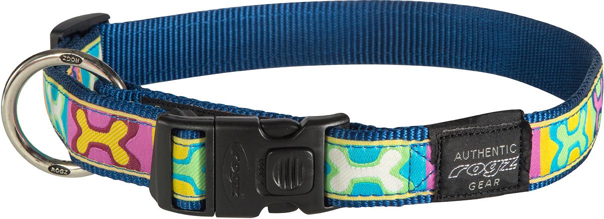 Ошейник для собак Rogz Fancy Dress, цвет: синий, ширина 2,5 смHB02BWОшейник для собак Rogz Fancy Dress имеет необычный дизайн. Широкая гамма потрясающе красивых орнаментов на прочной тесьме поверх нейлоновой ленты украсит вашего питомца. Специальная конструкция пряжки Rog Loc - очень крепкая (система Fort Knox). Замок может быть расстегнут только рукой человека. Технология распределения нагрузки позволяет снизить нагрузку на пряжки, изготовленные из титанового пластика, с помощью правильного и разумного расположения грузовых колец.Особые контурные пластиковые компоненты. Специальная округлая форма конструкции позволяет ошейнику комфортно облегать шею собаки. Выполненные по заказу литые кольца имеют хромирование, нанесенное гальваническим способом, что позволяет избежать коррозии и потускнения изделия.