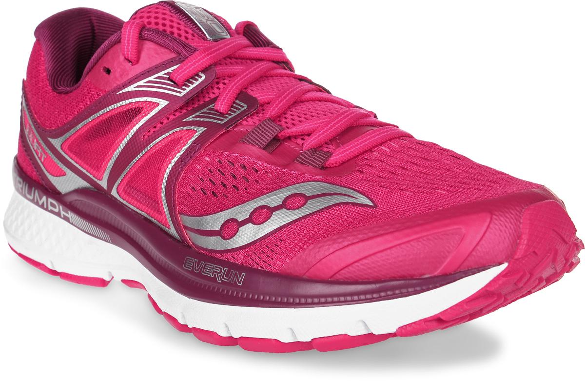 Кроссовки для бега женские Saucony Triumph Iso 3, цвет: красный, бордовый. S10346-2. Размер 8 (38)S10346-2Женские кроссовки для бега Saucony Triumph Iso3 выполнены из сетчатого текстиля и полимера, отличающихся эластичностью и легкостью.Материал очень мягкий и отлично пропускает воздух, позволяя ногам дышать. Конструкция ISOFIT обеспечивает плотное прилегание стопы, способствуя эффективной спортивной посадке. Максимальная амортизация для нейтральных пронаторов.Новая версия модели Triumph отличается дополнительной вставкой из материала EVERUN в пяточной части, а также слоем из EVERUN, расположенным прямо под стелькой, уменьшает ударную нагрузку, распределяя ее по всей стопе. Шнуровка надежно фиксирует модель на ноге. Внутренняя поверхность и стелька из текстиля комфортны при движении.Подошва с технологией TRI-Flex, изготовленная из высококачественной легкой резины, обеспечивает гибкость и идеальное сцепление. Поверхность подошвы дополнена рельефным рисунком.