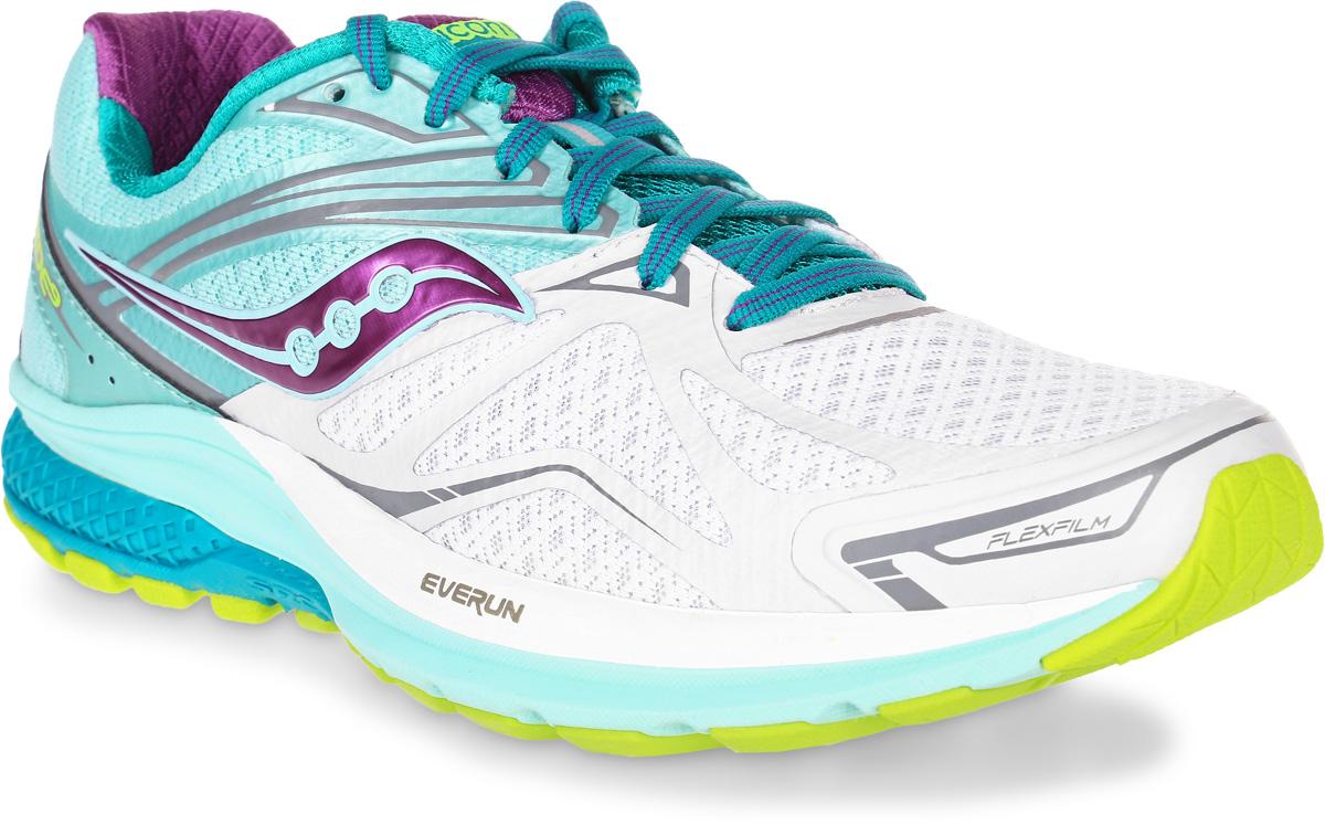 Кроссовки для бега женские Saucony Ride 9, цвет: белый, бирюзовый. S10318-7. Размер 8 (38)S10318-7Женские кроссовки для бега Saucony Ride 9 выполнены из сетчатого текстиля, который хорошо пропускает воздух и обеспечивает оптимальную вентиляцию. Шнуровка надежно фиксирует модель на ноге. Внутренняя подкладка, выполненная по технологии RunDry, впитывает влагу и обеспечивает комфорт во время бега. Дляподдержания стопы при движении используется прочный и легкий материал FlexFilm. Подошва с технологией TRI-Flex и специальная вставка IBR+ помогают равномерно распределять нагрузку во время бега. Модель Ride 9, благодаря вставке EVERUN, обеспечивает более плавное приземление в пятке и уменьшает давление в передней части стопы.Износоустойчивая подошва класса XT-900 дополнена рельефным рисунком, который способствует отличному сцеплению с поверхностью.
