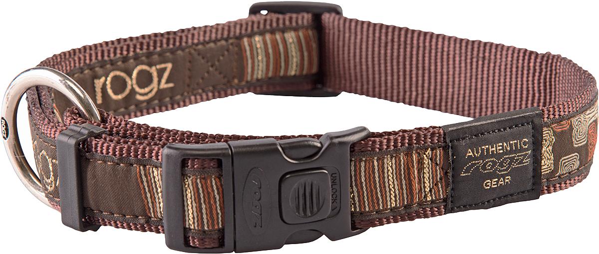 Ошейник для собак Rogz Fancy Dress, цвет: коричневый, ширина 2,5 смHB02CEОшейник для собак Rogz Fancy Dress имеет необычный дизайн. Широкая гамма потрясающе красивых орнаментов на прочной тесьме поверх нейлоновой ленты украсит вашего питомца. Специальная конструкция пряжки Rog Loc - очень крепкая (система Fort Knox). Замок может быть расстегнут только рукой человека. Технология распределения нагрузки позволяет снизить нагрузку на пряжки, изготовленные из титанового пластика, с помощью правильного и разумного расположения грузовых колец.Особые контурные пластиковые компоненты. Специальная округлая форма конструкции позволяет ошейнику комфортно облегать шею собаки. Выполненные по заказу литые кольца имеют хромирование, нанесенное гальваническим способом, что позволяет избежать коррозии и потускнения изделия.