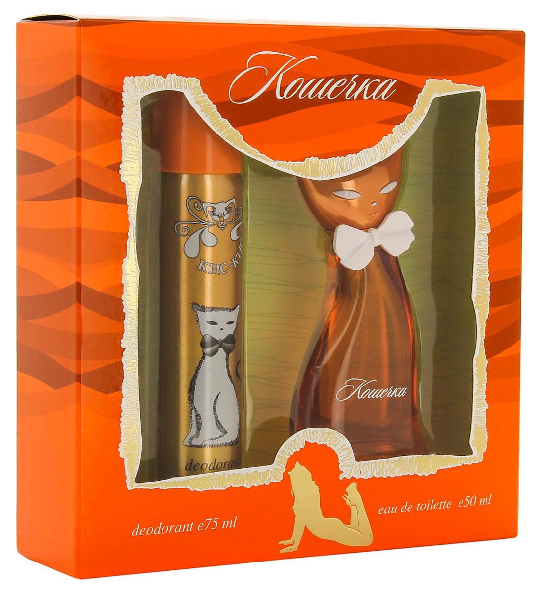КПК-Парфюм Подарочный набор для женщин Кис-Кис Кошечка: Туалетная вода, 50 мл + Парфюмированный дезодорант, 75 млКПК247КИС-КИС КОШЕЧКА- это аромат для женщин. Верхние ноты: розовый перец, киви и ревень; ноты сердца: жасмин, цикламен и арбуз; ноты базы: мускус, сандал и лимонное дерево.