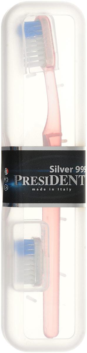 President Зубная щетка Silver 999, со сменной головкой, средняя жесткость, цвет: светло-розовый1012_розовыйЗубная щетка President Silver 999 средней жесткости- это уникальная зубная щетка, которая помогает не только чистить зубы, но и борется с бактериями. Головка щетки покрыта серебром 999 пробы, которое при контакте с водой обеспечивает бактерицидное действие на патогенную микрофлору, вызывающую кариес и воспаление десен. Серебряное покрытие гарантирует естественный длительный процесс самодезинфекции самой щетины. Щетина Tynex от DuPont обеспечивает тщательное удаление налета и бережное отношение к эмали. В комплект входит защитный чехол и дополнительная сменная головка. Товар сертифицирован.