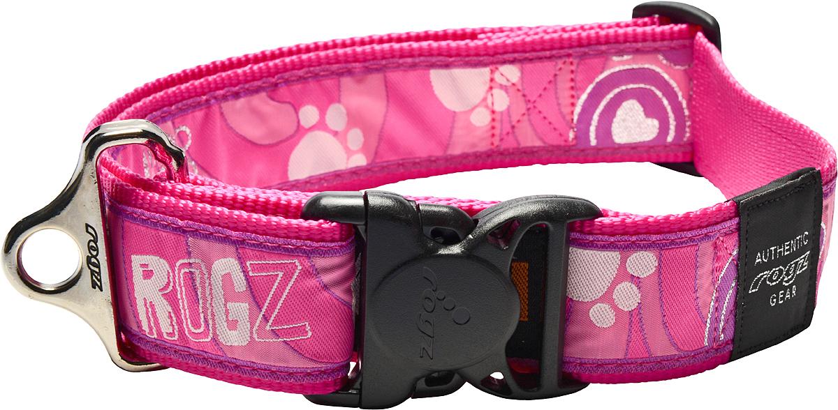 Ошейник для собак Rogz Fancy Dress, цвет: розовый, ширина 4 смHB04CAОшейник для собак Rogz Fancy Dress имеет необычный дизайн. Широкая гамма потрясающе красивых орнаментов на прочной тесьме поверх нейлоновой ленты украсит вашего питомца. Специальная конструкция пряжки Rog Loc - очень крепкая (система Fort Knox). Замок может быть расстегнут только рукой человека. Технология распределения нагрузки позволяет снизить нагрузку на пряжки, изготовленные из титанового пластика, с помощью правильного и разумного расположения грузовых колец.Особые контурные пластиковые компоненты. Специальная округлая форма конструкции позволяет ошейнику комфортно облегать шею собаки. Выполненные по заказу литые кольца имеют хромирование, нанесенное гальваническим способом, что позволяет избежать коррозии и потускнения изделия.