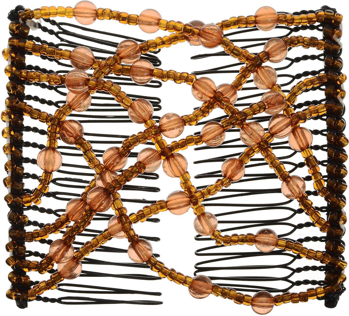 EZ-Combs Заколка Изи-Комбс, одинарная, цвет: коричневый. ЗИО_шарики ez combs заколка изи комбс одинарная цвет коричневый зио цветок с серебром