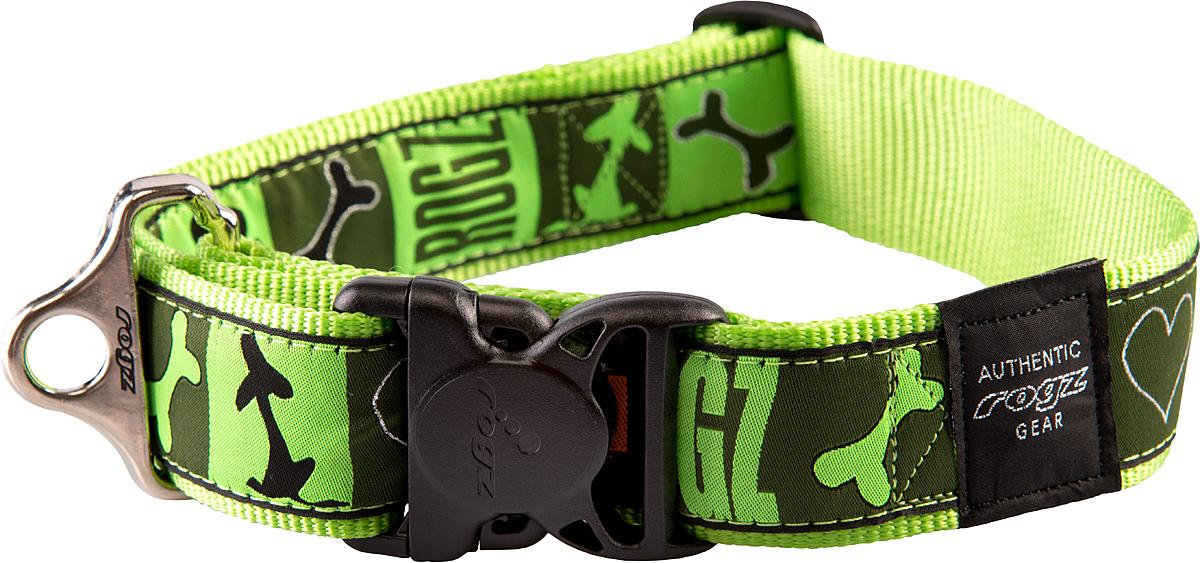 Ошейник для собак Rogz Fancy Dress, цвет: зеленый, ширина 4 смCB54LОшейник для собак Rogz Fancy Dress имеет необычный дизайн. Широкая гамма потрясающе красивых орнаментов на прочной тесьме поверх нейлоновой ленты украсит вашего питомца. Специальная конструкция пряжки Rog Loc - очень крепкая (система Fort Knox). Замок может быть расстегнут только рукой человека. Технология распределения нагрузки позволяет снизить нагрузку на пряжки, изготовленные из титанового пластика, с помощью правильного и разумного расположения грузовых колец.Особые контурные пластиковые компоненты. Специальная округлая форма конструкции позволяет ошейнику комфортно облегать шею собаки. Выполненные по заказу литые кольца имеют хромирование, нанесенное гальваническим способом, что позволяет избежать коррозии и потускнения изделия.