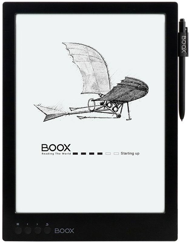 Onyx Boox Max Carta, Black электронная книгаONYX MAX Carta BlackOnyx Boox Max Carta — устройство с экраном с повышенным разрешением E Ink Mobius Carta размером 13,3 дюйма, поддерживающим функцию SNOW Field. Модель базируется на операционной системе Android и может стать идеальным выбором для тех, кому приходится часто читать учебную или техническую литературу. Большой и комфортный для глаз дисплей, мощный процессор в сочетании с 1 Гб оперативной памяти и сенсорное управление — оптимальные инструменты для чтения файлов в форматах PDF и DjVu. Встроенный модуль Wi-Fi позволяет использовать устройство для полноценного сёрфинга по сети Интернет, а приложение Google Play, предустановленное на устройстве, существенно расширяет его функциональность.E Ink Mobius Carta — это экраны высокого разрешения (207 точек на дюйм), выполненные по технологии электронная бумага и отличающиеся тем, что имеют пластиковую подложку и меньший вес. Использование пластика делает такие экраны менее хрупкими, чем обычные со стеклянной подложкой. Читать с такого экрана так же комфортно, как с обычной бумажной страницы. Потребление питания экраном происходит только при смене изображения.SNOW Field – режим работы экрана, позволяющий снизить количество артефактов на E Ink-экране при частичной перерисовке. Если данная функция активирована, при чтении простых текстовых документов полная перерисовка не требуется.Дисплей E Ink Mobius 13,3 дюйма идеален для просмотра документов, содержащих графики и схемы, а также для любых произвольных документов в формате PDF. Отсутствие мерцающей подсветки и принцип формирования изображения методом электронных чернил делает чтение комфортным для глаз. Сенсорный экран обеспечивает удобное управление при чтении: смещение страницы, выбор участка для увеличения, пометки в тексте и использование дополнительных функций.Программное обеспечение Boox позволяет открывать файлы множества различных текстовых и графических форматов. При чтении вы можете менять стиль и размер шрифта