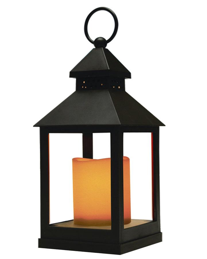 Фонарь с LED свечкой Proffi Home, цвет: черный, 10,5 x 10,5 x 24 см часы настенные proffi home корица