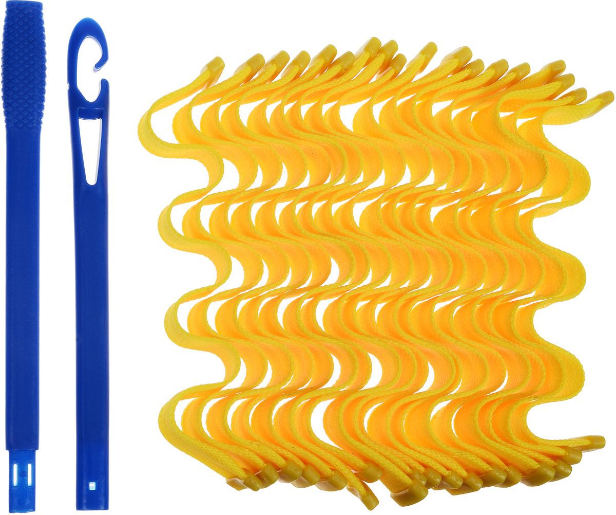 "Magic Leverage Бигуди ""Волна"", цвет: желтый, 30 см, 18 шт"