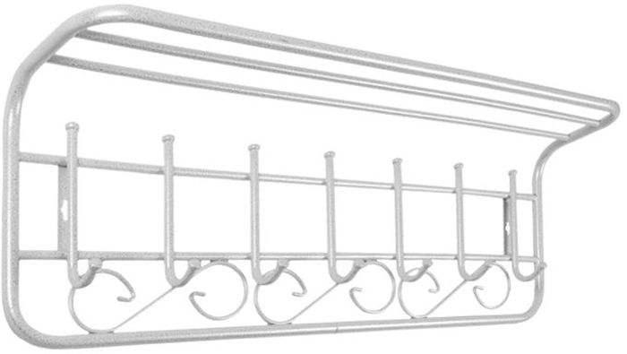 Вешалка ЗМИ, с полкой, 7 крючков, цвет: белое серебро, длина 80 смВСПА 203Настенная вешалка ЗМИ выполнена из высококачественной стали со специальным полимерным покрытием. Вешалка имеет 7 крючков и оснащена полкой. На крючки удобно вешать одежду, сумки или шарфы. Полка предназначена для шапок и перчаток. Изделие крепится к стене с помощью двух саморезов (не входят в комплект). Вешалка ЗМИ отлично дополнит интерьер вашей прихожей.