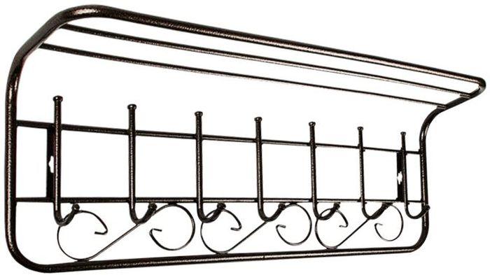 Вешалка ЗМИ, с полкой, 7 крючков, цвет: медный антик, длина 80 см