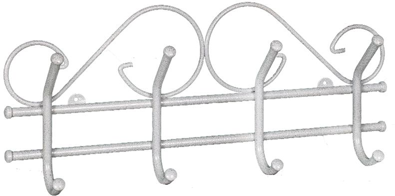 Вешалка настенная ЗМИ Ажур, с 4 крючками, цвет: белый, серебристый, 48 х 8 х 21 смВНА 200 БСВешалка настенная Ажур подойдет для размещения в прихожей и офисных помещениях. В конструкцию входят 4 крючка с металлическими колпачками и петельками для крепления. Металлическая вешалка функциональна, надежна и проста в уходе. Данное изделие полностью безопасно в использовании.Назначение: Настенная вешалка для размещения одежды. Область применения: В любых помещениях – дом, офис, общепит и других. Материал: Стальная труба диаметром 10 мм, стальная проволока диаметром 5мм; стальные колпачки; полимерно-порошковое покрытие.Конструкция: Цельносварная.Упаковка: ПЭТ пленка. Габариты (Д х Ш х В):В собранном виде: 480 х 80 х 210 мм. В упакованном виде: 480 х 80 х 210 мм. Вес Нетто: 0,57 кг. Вес Брутто: 0,6 кг. Объем: 0,006 куб.м.Отличительные особенности: - надежная сварная конструкция;- изящная форма, напоминает кованую вешалку.