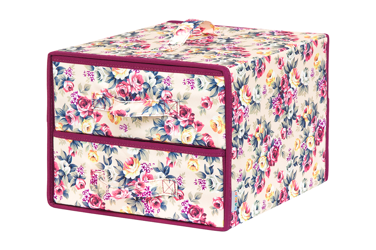 Кофр для хранения вещей EL Casa Розовый букет, складной, 30 х 30 х 23 см ваза mughal l 20 х 20 х 30 см