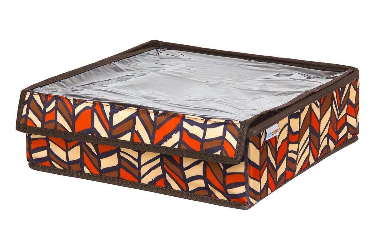 Кофр для хранения вещей EL Casa Африка, складной, 32 х 32 х 10 см840296Кофр на 12 секций подходит для хранения нижнего белья, колготок, носков и другой одежды. Прозрачная крышка позволяет видеть содержимое кофра, не открывая его. Такой органайзер позволит вам хранить вещи компактно и удобно. Размер 32х32х10 см.