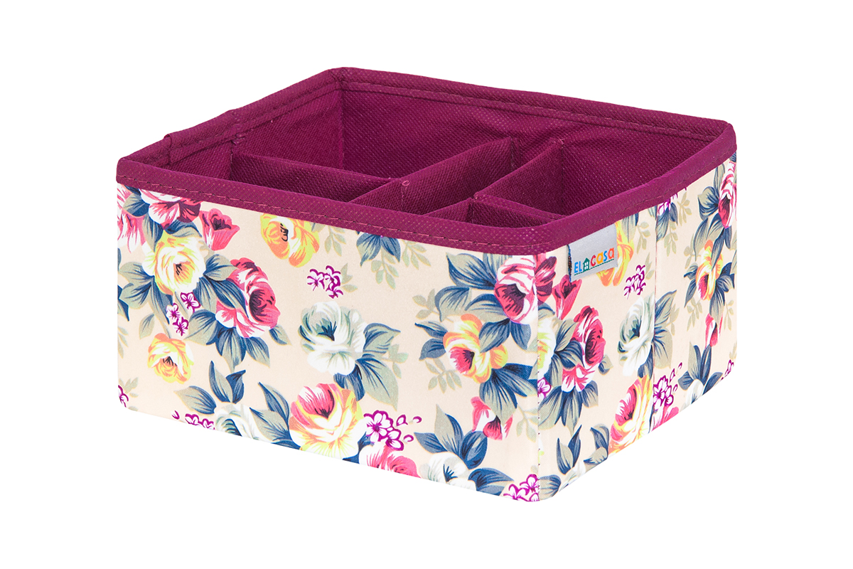 Органайзер для мелочей и косметики EL Casa Розовый букет, 17,5 х 15,5 х 10,5 см840330Удобный и компактный органайзер с легкостью вместит все необходимые баночки и тюбики. Большое основное отделение можно использовать для кремов, парфюмерии и лаков. Наличие различных кармашков делает возможным хранение декоративной косметики.