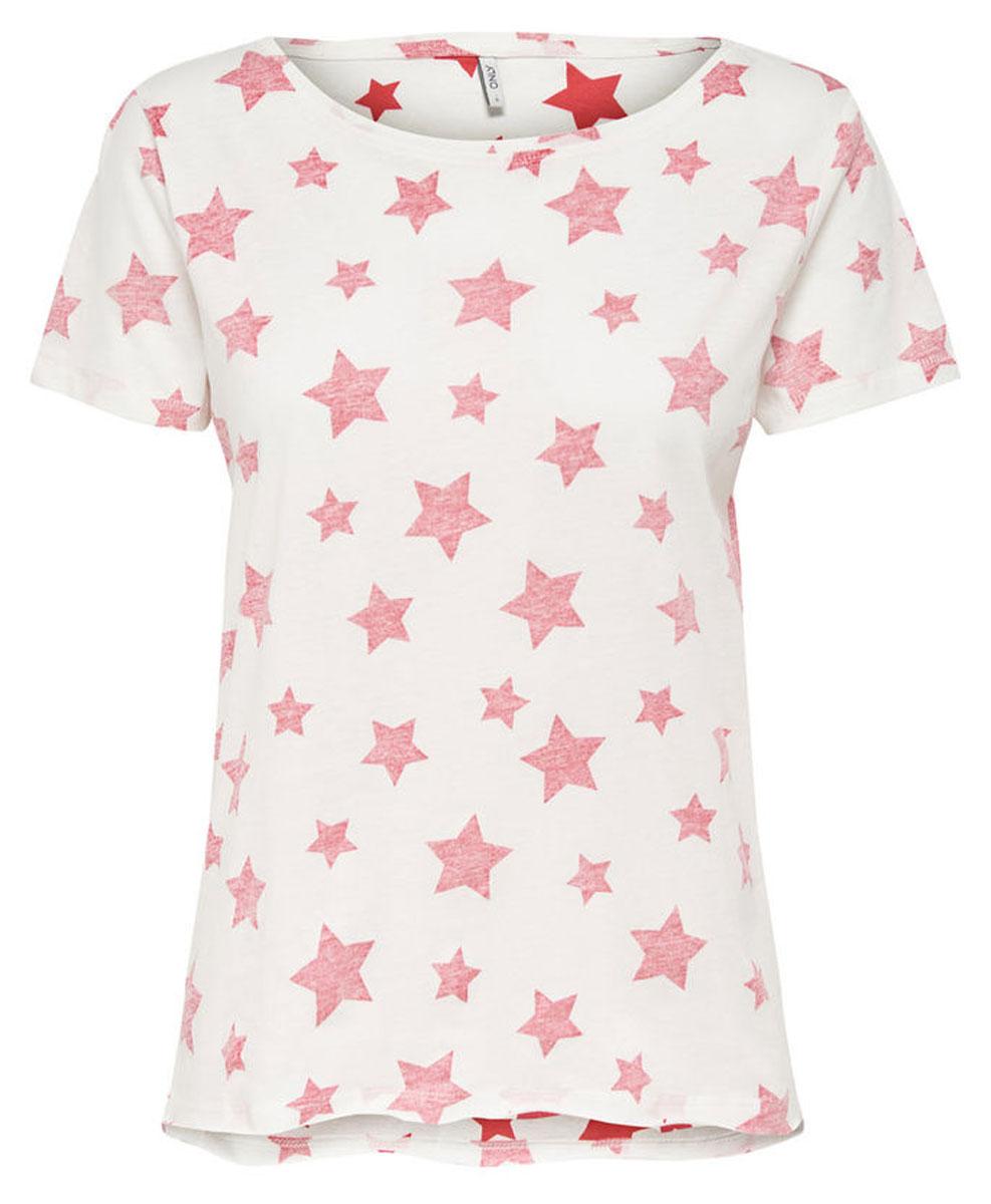 Топ жен Only, цвет: белый красный. 15134981_Cloud Dancer (TEABERRY). Размер XL (46)15134981_Cloud DancerAOP: STAR (TEABERRY)