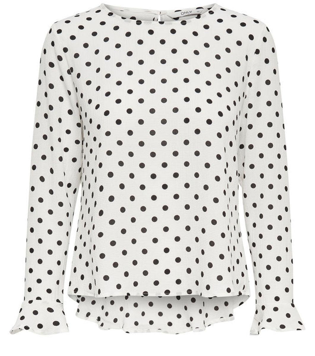 Блузка женская Only, цвет: белый, черный. 15135069_Cloud Dancer. Размер 40 (46) куртка женская only цвет черный 15140836