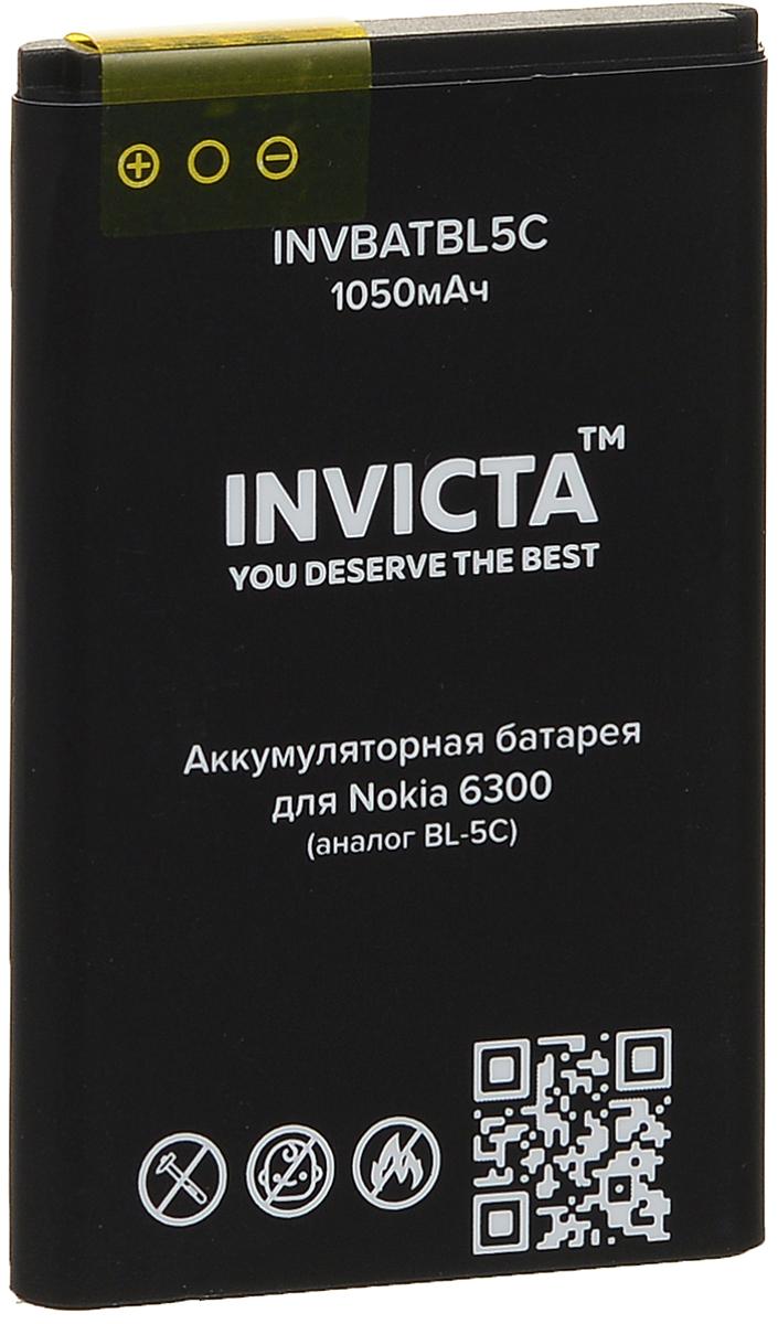 Invicta INVBATBL5C, Black аккумулятор для Nokia 6300 аналог BL-5C (1050 мАч) sports mesh arm band for samsung galaxy ace 3 s7272 s7275 s7270 black grey
