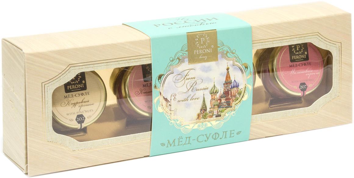 Peroni Honey подарочный набор меда Вкус России, 4 шт по 30 г0120710Мёд-суфле с традиционными российскими ягодами - это новинка в мире натуральных десертов. Особая технология вымешивания превращает мёд в изысканное лакомство.