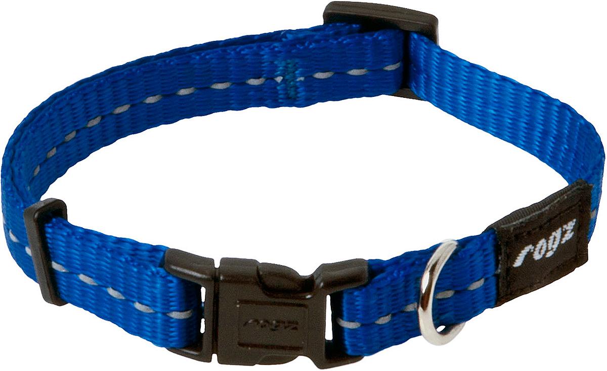 Ошейник для собак Rogz Utility, цвет: синий, ширина 1,1 см. Размер SHB14BОшейник для собак Rogz Utility  со светоотражающей нитью, вплетенной в нейлоновую ленту, обеспечивает лучшую видимость собаки в темное время суток. Специальная конструкция пряжки Rog Loc - очень крепкая (система Fort Knox). Замок может быть расстегнут только рукой человека. Технология распределения нагрузки позволяет снизить нагрузку на пряжки, изготовленные из титанового пластика, с помощью правильного и разумного расположения грузовых колец.Особые контурные пластиковые компоненты. Специальная округлая форма конструкции позволяет ошейнику комфортно облегать шею собаки.Выполненные специально по заказу Rogz литые кольца гальванически хромированы, что позволяет избежать коррозии и потускнения изделия.