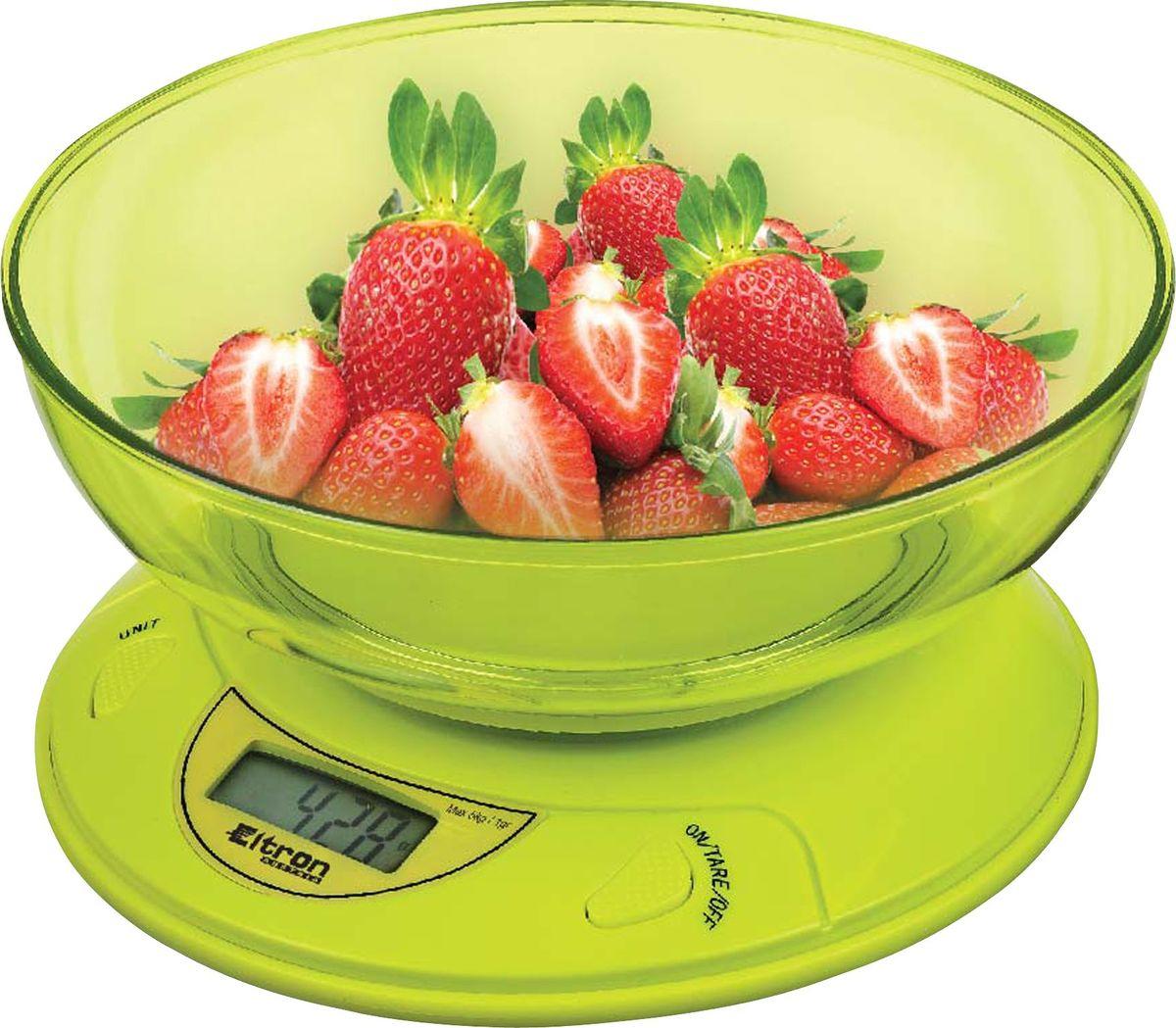 Весы кухонные Eltron, электронные, цвет: салатовый, фиолетовый, до 5 кг. 9259EL9259ELЭлектронные кухонные весы. /2 цвета/ Современный дизайн. Двухкнопочный механизм. ЖК-дисплей. Съемная прозрачная чаша. Максимальный вес - 5 кг. Показывает вес в унциях, фунтах, гр, мл.2хААА батареи входят в комплект.