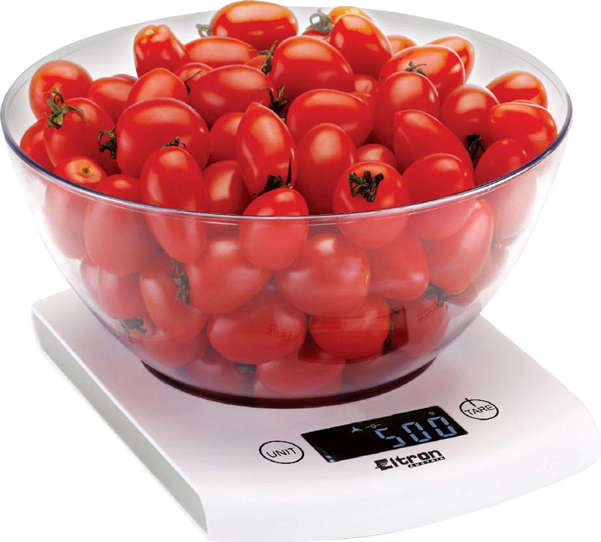 Весы кухонные Eltron, электронные, цвет: белый, до 5 кг. 9262EL9262ELЭлектронные кухонные весы. Современный дизайн. Двухкнопочный механизм. ЖК-дисплей. Съемная прозрачная чаша. Максимальный вес - 5 кг. Показывает вес в унциях, фунтах, гр, мл.2х1,5В ААА батарея входит в комплект.
