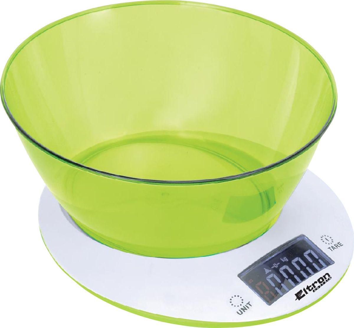 Весы кухонные Eltron, электронные, цвет: белый, до 5 кг. 9264EL9264ELЭлектронные кухонные весы современного дизайна Eltron выполнены из пластика. Они имеют: двухкнопочный механизм; ЖК-дисплей; съемную прозрачную чашу.Максимальный вес: 5 кг.Показывают вес в унциях, фунтах, г, мл. Работают от 2 батареек х 1.5В ААА (батарейки входят в комплект).