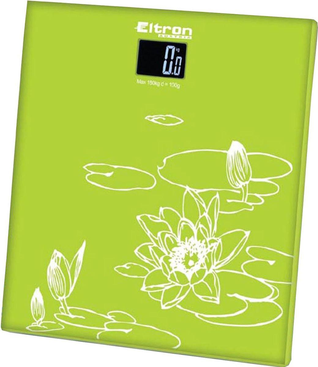 Весы напольные Eltron, электронные, цвет: синий, зеленый, белый, до 180 кг. 9215EL9215ELЦифровые напольные круглые весы на стеклянной платформе. Жидкокристаллический экран. Максимальный вес 180 кг. Шаг измерения - 0.1 кг.