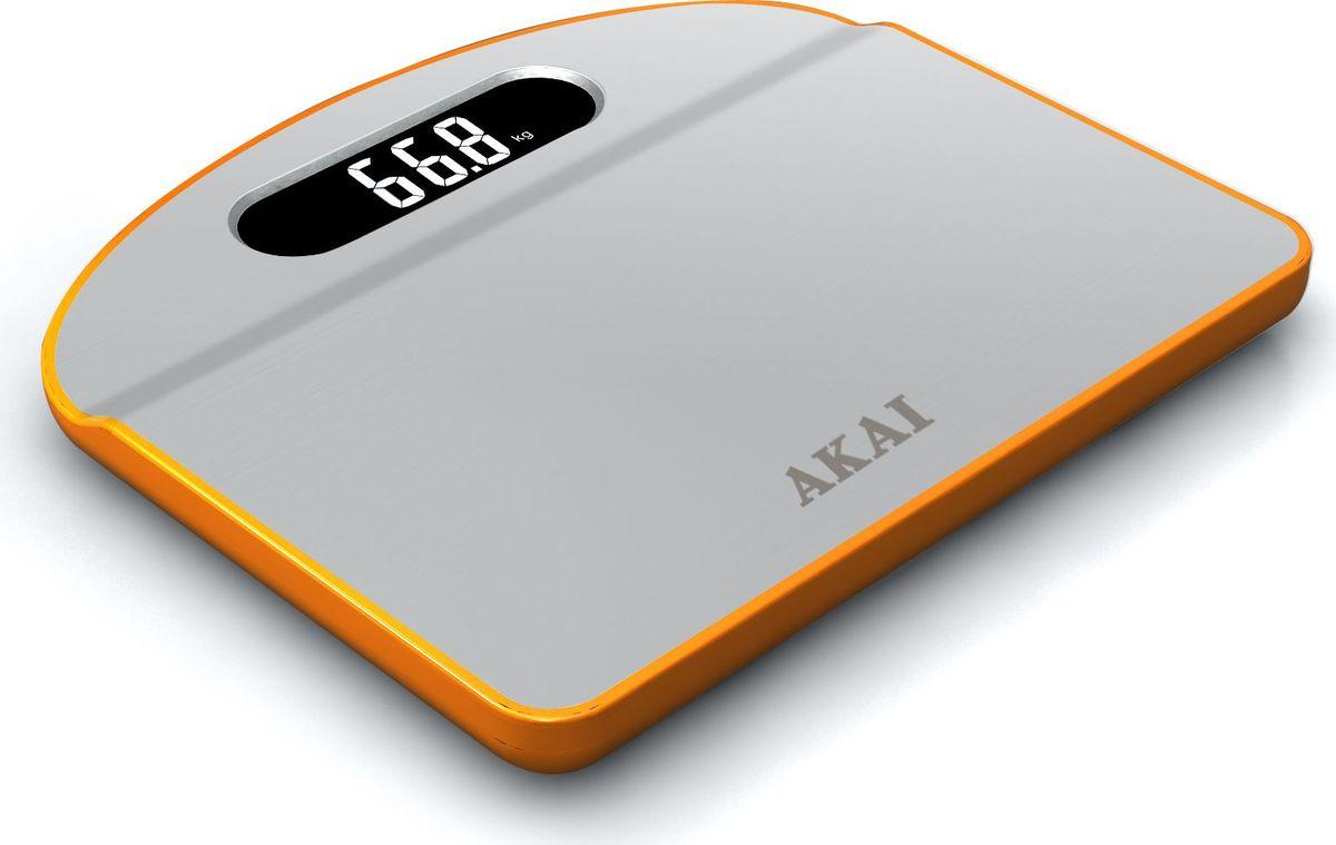 Весы напольные Akai, электронные, цвет: белый, оранжевый, до 150 кг. 1351/О весы akai весы напольные 2 в 1 весы с часами