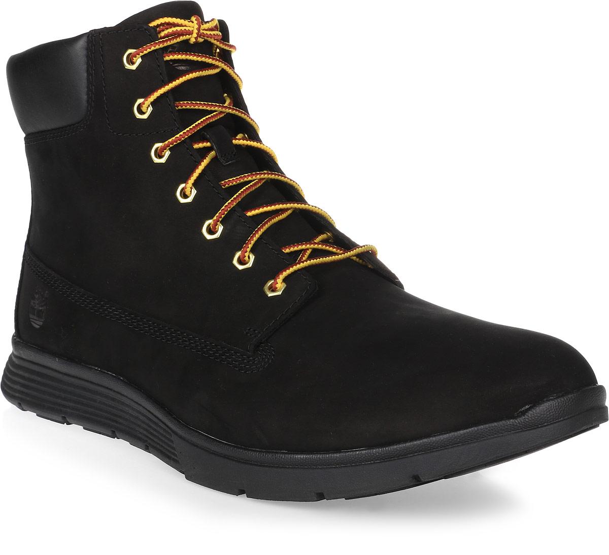 Ботинки мужские Timberland Killington 6 Boot, цвет: черный. TBLA19URW. Размер 7,5 (40)TBLA19URWСтильные мужские ботинки 6 Boot от Timberland заинтересуют вас своим дизайном с первого взгляда! Модель изготовлена из натурального нубука с эксклюзивной технологией Anti-Fatigue. Герметичная водонепроницаемая конструкция сохранит ноги сухими в любую погоду. Обувь оформлена сбоку и на язычке фирменным тиснением, вдоль ранта - крупной прострочкой. Классическая шнуровка прочно зафиксирует обувь на вашей ноге. Внутренняя поверхность из текстиля не натирает. Стелька из материала ЭВА с текстильной поверхностью комфортна при движении. Прочная подошва с рельефным протектором гарантирует отличное сцепление с любой поверхностью. Модные ботинки займут достойное место среди вашей коллекции обуви.