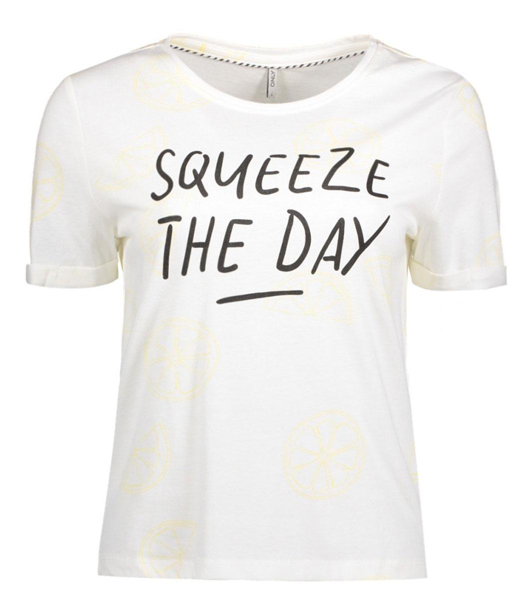 Футболка женская Only, цвет: белый. 15135457_Cloud Dancer. Размер M (46)15135457_Cloud DancerСтильная женская футболка Only, выполненная из 100% хлопка, подчеркнет ваш стиль и поможет создать оригинальный образ. Модель имеет короткие рукава и круглый вырез горловины. Изделие дополнено надписью: Squeeze the day.