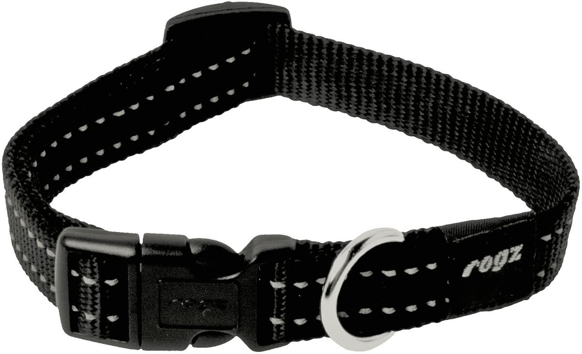Ошейник для собак Rogz Utility, цвет: черный, ширина 1,6 см. Размер MHB11AОшейник для собак Rogz Utility  со светоотражающей нитью, вплетенной в нейлоновую ленту, обеспечивает лучшую видимость собаки в темное время суток. Специальная конструкция пряжки Rog Loc - очень крепкая (система Fort Knox). Замок может быть расстегнут только рукой человека. Технология распределения нагрузки позволяет снизить нагрузку на пряжки, изготовленные из титанового пластика, с помощью правильного и разумного расположения грузовых колец.Особые контурные пластиковые компоненты. Специальная округлая форма конструкции позволяет ошейнику комфортно облегать шею собаки.Выполненные специально по заказу Rogz литые кольца гальванически хромированы, что позволяет избежать коррозии и потускнения изделия.