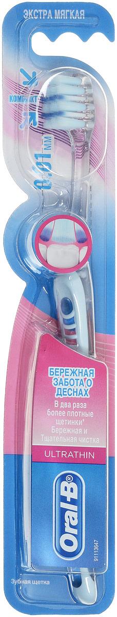 Oral-B Зубная щетка UltraThin, экстра мягкая, цвет: светло-голубойORL-81605844_прозрачный, белыйЗубная щетка Oral-B UltraThin с ультратонкими щетинками и обеспечивает глубокое и эффективное очищение. Она улучшает состояние десен за 14 дней, снимая воспаление и уменьшая кровоточивость.Ультратонкие щетинки для глубокой чистки проникают в 2 раза глубже между зубов, чем щетинки обычной щетки. Применение щеток с ультратонкими щетинками является менее болезненным. Экстра мягкая щетка с ультратонкими щетинками и обладает успокаивающим эффектом и помогает снизить проявление гингивита, уменьшая воспаление и кровоточивость десен.Товар сертифицирован.
