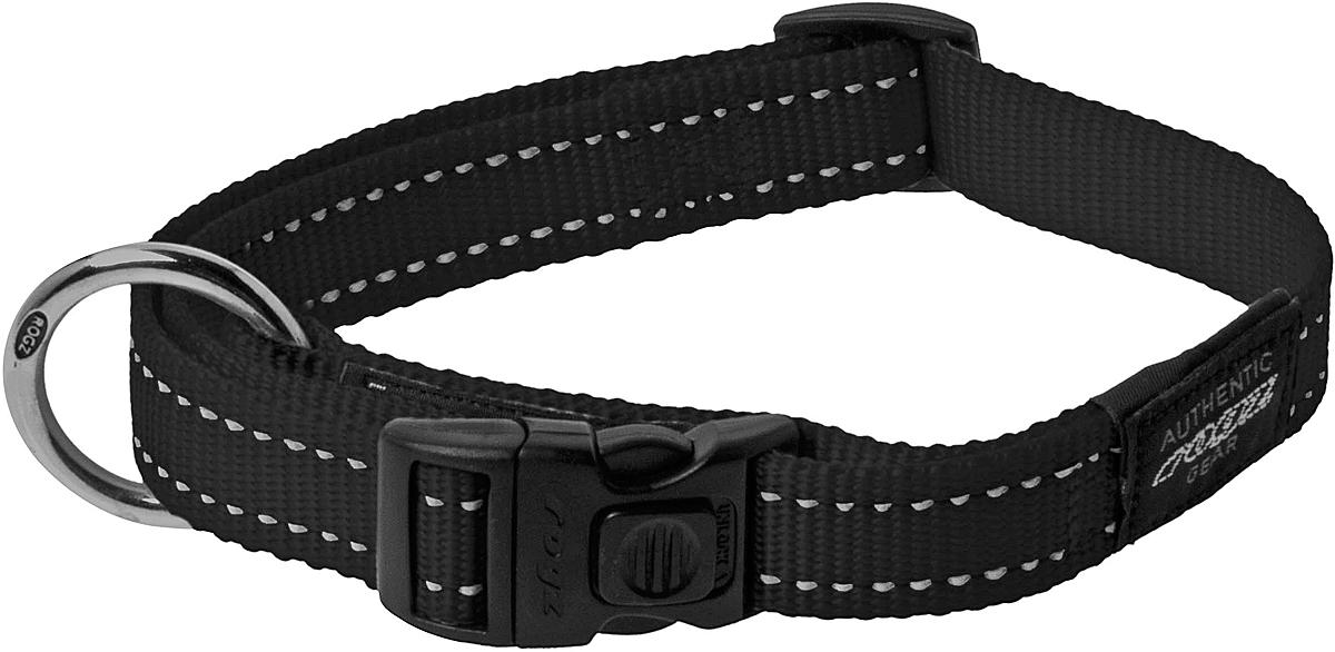 Ошейник для собак Rogz Utility, цвет: черный, ширина 2,5 см. Размер XLHB05AОшейник для собак Rogz Utility  со светоотражающей нитью, вплетенной в нейлоновую ленту, обеспечивает лучшую видимость собаки в темное время суток. Специальная конструкция пряжки Rog Loc - очень крепкая (система Fort Knox). Замок может быть расстегнут только рукой человека. Технология распределения нагрузки позволяет снизить нагрузку на пряжки, изготовленные из титанового пластика, с помощью правильного и разумного расположения грузовых колец.Особые контурные пластиковые компоненты. Специальная округлая форма конструкции позволяет ошейнику комфортно облегать шею собаки.Выполненные специально по заказу Rogz литые кольца гальванически хромированы, что позволяет избежать коррозии и потускнения изделия.