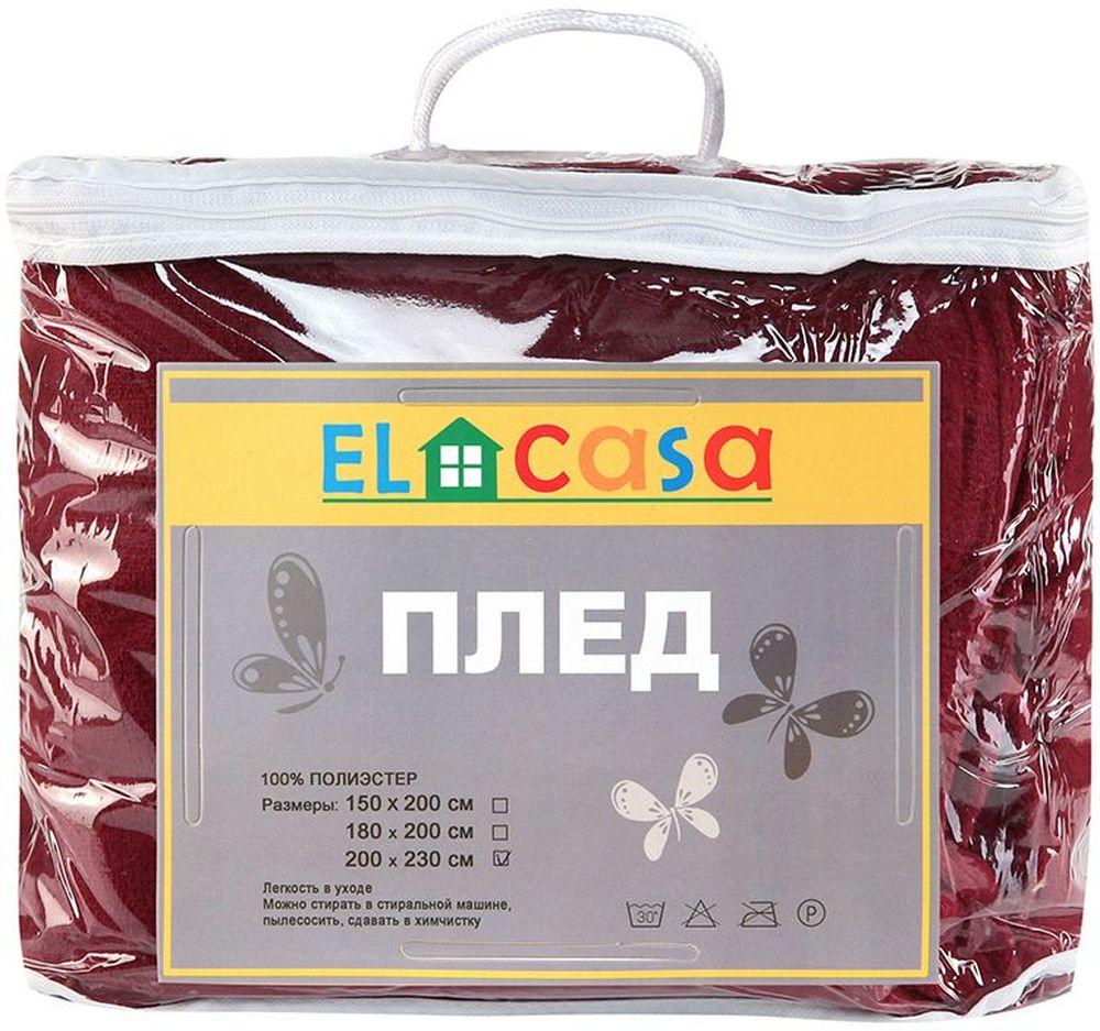 "Плед ""EL Casa"", цвет: бордовый, 200 х 230 см"