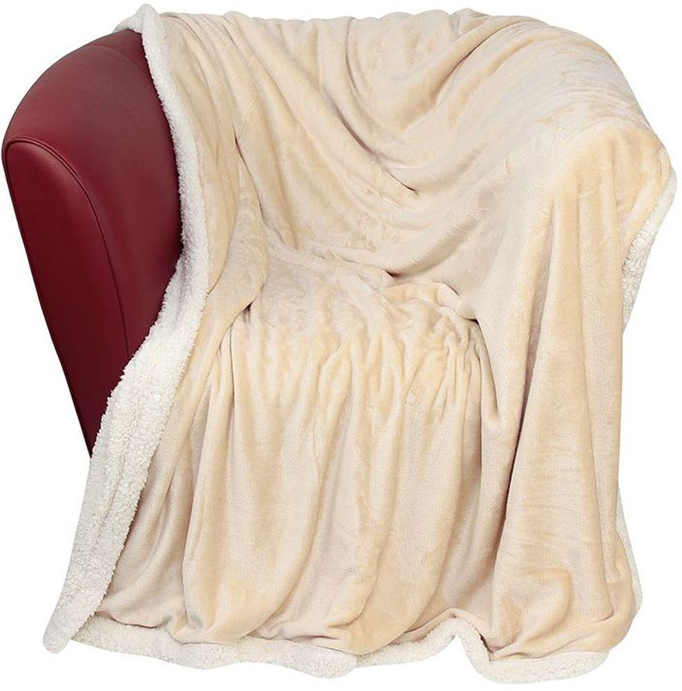 Плед EL Casa Двусторонний, цвет: бежевый, белый, 150 х 200 см960054Уютный, легкий, и прочный плед в оригинальном дизайне послужит украшением декора вашей комнаты и согреет вас и ваших близких. Одна сторона-гладкая, вторая сторона - под овчину. Устойчив к истиранию и скатыванию, не мнется, не деформируется, сохранит первоначальный вид даже при активном использовании и многочисленных стирках. Такой плед идеален в качестве подарка на любой праздник. Изделие в подарочной сумке с ручками.