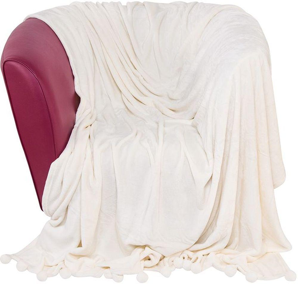 Плед EL Casa Помпоны, цвет: молочный коктейль, 180 х 200 см960068Уютный, легкий и прочный плед в оригинальном дизайне послужит украшением декора вашей комнаты и согреет вас и ваших близких. Устойчив к истиранию и скатыванию, не мнется, не деформируется, сохранит первоначальный вид даже при активном использовании и многочисленных стирках. Такой плед идеален в качестве подарка на любой праздник.