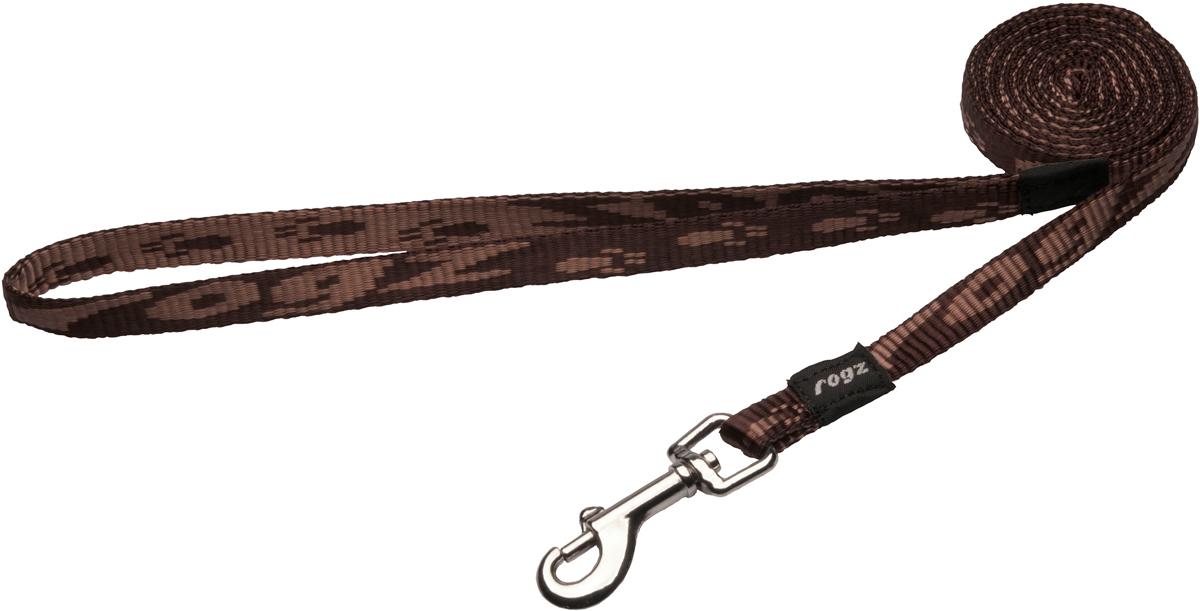 Поводок для собак Rogz Alpinist, цвет: коричневый, ширина 1,1 см. Размер SHL21JПоводок для собак Rogz Alpinist изготовлен из нейлона и снабжен металлическим карабином. Особо мягкая, но очень прочная лента обеспечит безопасность на прогулке даже самым активным собакам.Все соединения деталей имеют специальную дополнительную строчку для большей прочности. Выполненные специально по заказу Rogz литые кольца гальванически хромированы, что позволяет избежать коррозии и потускнения изделия.