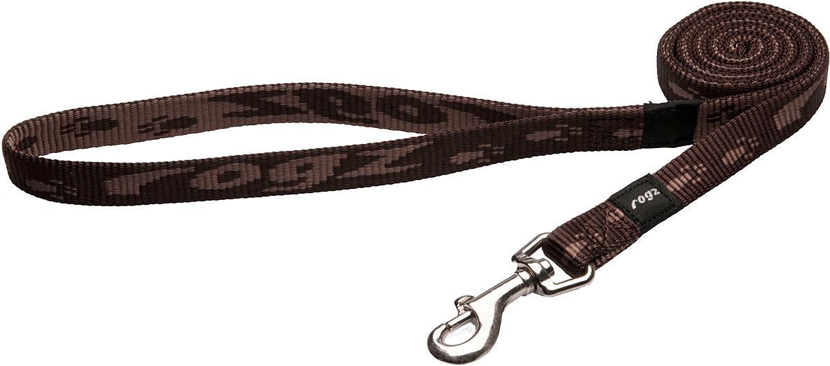 Поводок для собак Rogz Alpinist, цвет: коричневый, ширина 1,6 см. Размер MHL23JПоводок для собак Rogz Alpinist изготовлен из нейлона и снабжен металлическим карабином. Особо мягкая, но очень прочная лента обеспечит безопасность на прогулке даже самым активным собакам.Все соединения деталей имеют специальную дополнительную строчку для большей прочности. Выполненные специально по заказу Rogz литые кольца гальванически хромированы, что позволяет избежать коррозии и потускнения изделия.