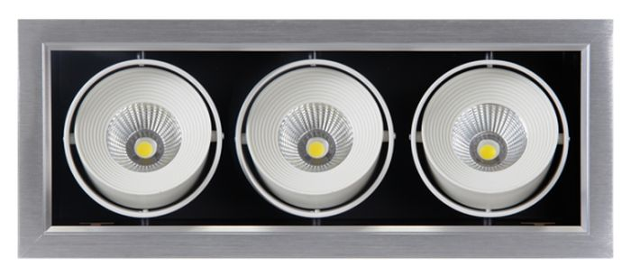 Светильник светодиодный Jazzway PSP-S 113, карданный 24°, IP40, 4000K, 3x9 Вт.2853042Jazzway Даунлайт PSP-S 113 3x9W 4000K 24° GREY Карданный IP40
