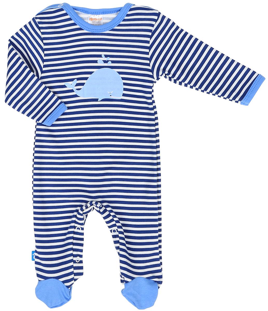 Комбинезон домашний для мальчика КотМарКот, цвет: синий, белый. 6711. Размер 626711Комбинезон домашний для мальчика Cherubino из мягкого хлопка, он очень приятный на ощупь, не раздражает нежную и чувствительную кожу ребенка, позволяя ей дышать. Застегивается на кнопки, что помогает при переодевании малышки.